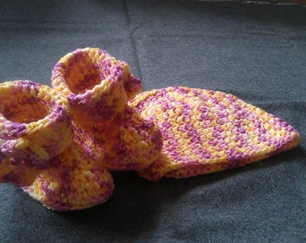 Crochet Baby Hat and Booties set Pink and Yellow