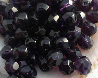 6mm Tanzanite (4004) Czech Fire Polished Beads 30/60/90 pieces