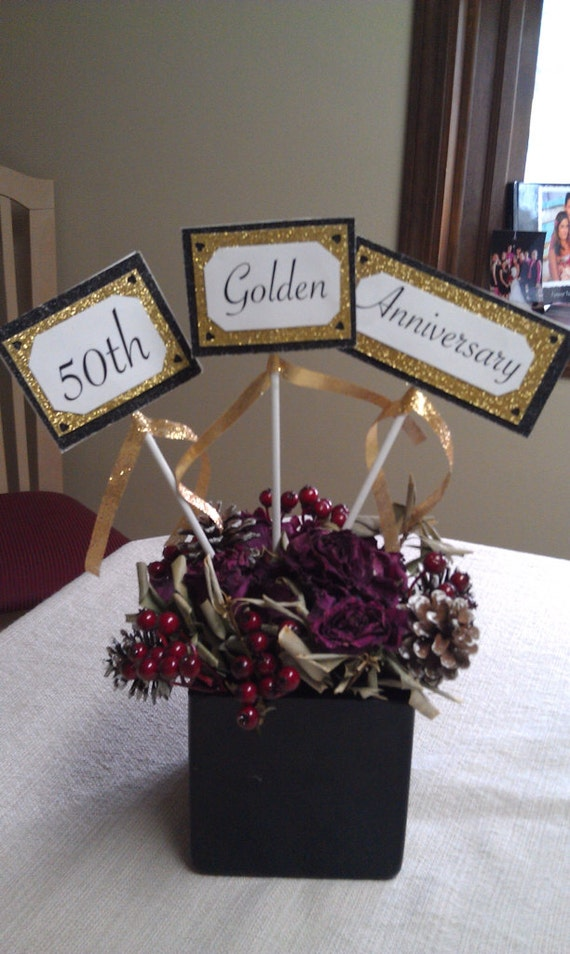 Items similar to 50th anniversary centerpiece set of 3 for 50th birthday decoration packages
