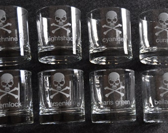 Set of 8 Poison Glasses - Skull and Crossbones Pick Your Poison Etched Glasses