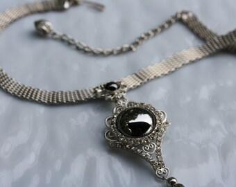 Vintage Act II Hemitite and Rhinestone silvertone mesh necklace