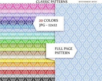 Damask Digital Paper, damask scrapbook paper, background patterns, pack of 20 - BR 039