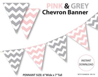 Printable banner, chevron banner, pink and grey chevron banner, printable banner, DIY party  - BR 218