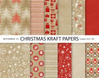 Christmas Digital Paper Pack, Christmas paper, kraft paper Christmas, 12 digital papers - BR 273