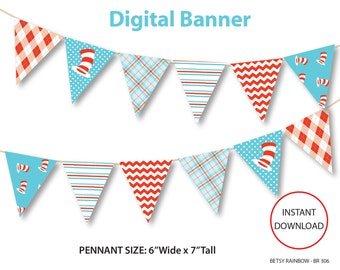 Dr. Seuss inspired printable banner in red and aqua blue, red and blue digital banner, party decoration - BR 306