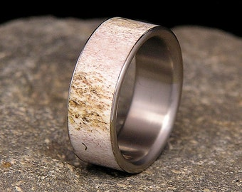 Deer Antler Titanium Wedding Band or Ring