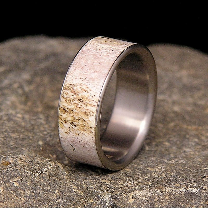 deer antler titanium wedding band or ring - Deer Antler Wedding Rings