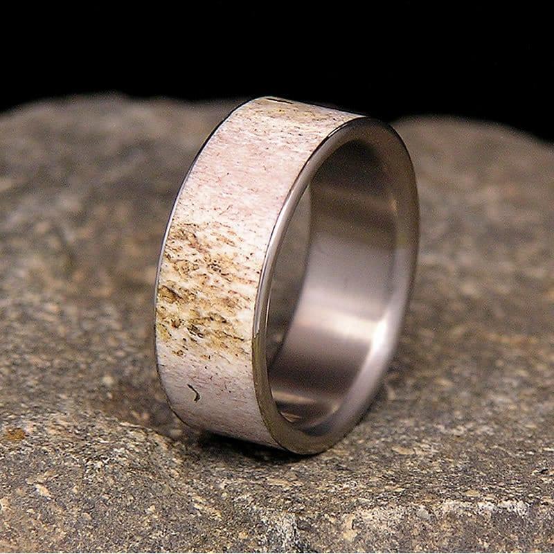 deer antler titanium wedding band or ring zoom - Antler Wedding Rings