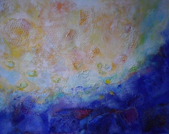 "Original Abstract Textured Undercoat Acrylic Painting on Canvas ""Dialogue"" 15,75 x 23,62 "" Multicoloured"