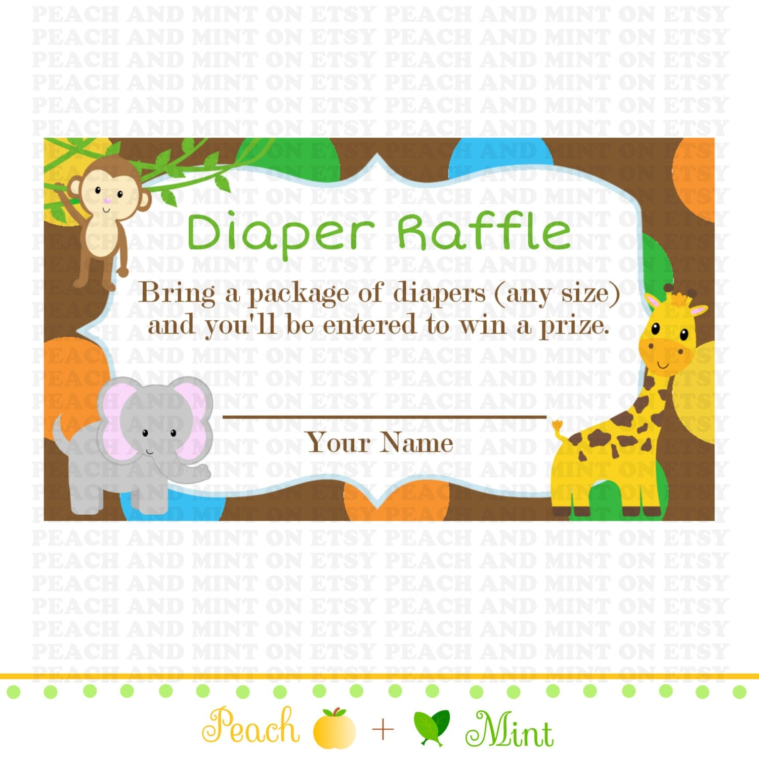 Printable Safari or Jungle Baby Shower Diaper Raffle Ticket