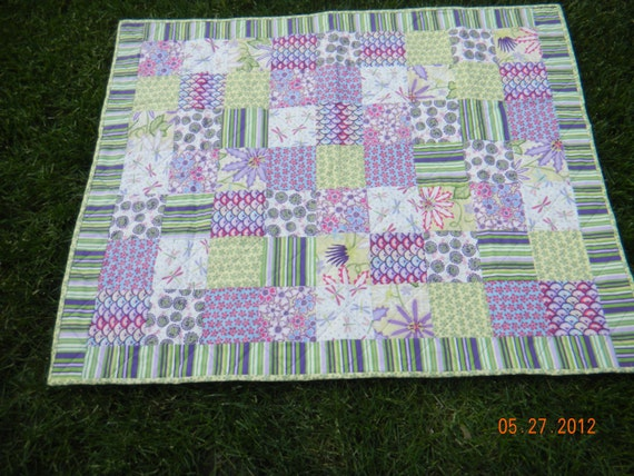 Gorgeous Hand Made Baby Girl Quilt with butterflies, dragonflies, snails and lady bugs. Green, yellow, purple, blue, and white colors.