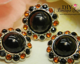 23mm HALLOWEEN Pearl buttons Black & Orange - Acrylic Rhinestone Buttons Pearl Embellishments - Flower centers Headband Supplies 10pc 204040