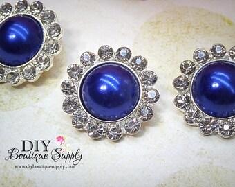 5 pcs 21mm Royal BLUE Pearl Rhinestone Buttons Metal Embellishment Headband Supplies Crystal flower centers Bridal supplies 427045