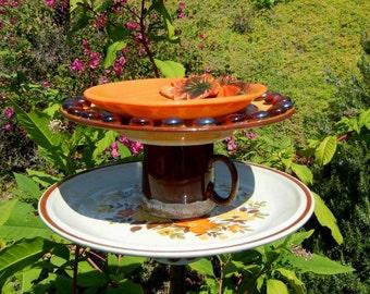 Autumn Theme Bird Feeder, Repurposed Garden Art, Whimsical Garden Totem,  Ceramic Garden Decor