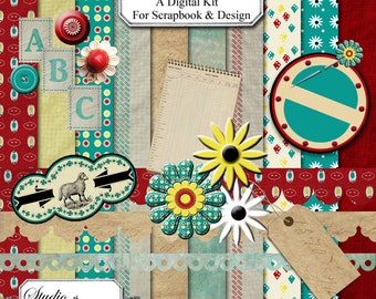 Feed Sack Nostalgia Digital Scrapbooking/Design Kit includes 10 papers, the alphabet, numbers, and embellishments