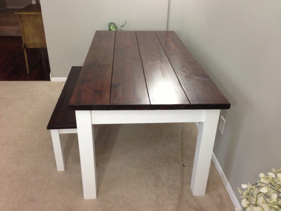 Farmhouse Table / Farm Table (Red Mahogany/White)