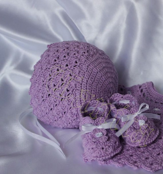 Lavender Baby Bonnet and Booties Crochet Pattern