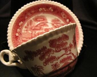 Vintage Copeland Spode Pink Tower Old Mark Cup and Saucer Set