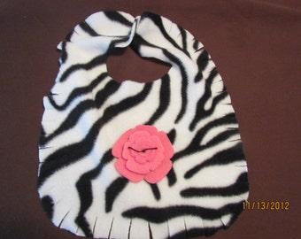 zebra fleece bib