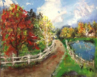 Landscape - Original Art Acrylic Painting - The Pond in the Fall