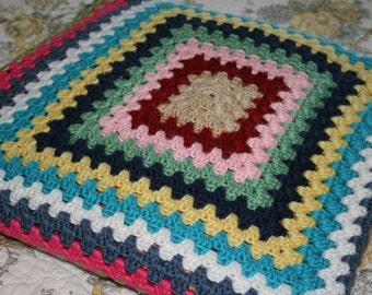Bohemian Granny Square Throw Blanket
