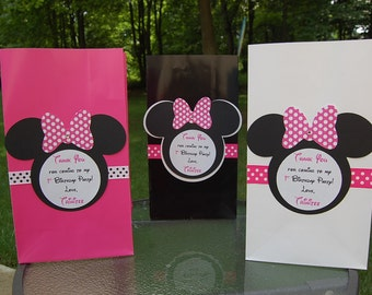 Personalized Minnie Mouse Inspired Favor Bags for Tricia