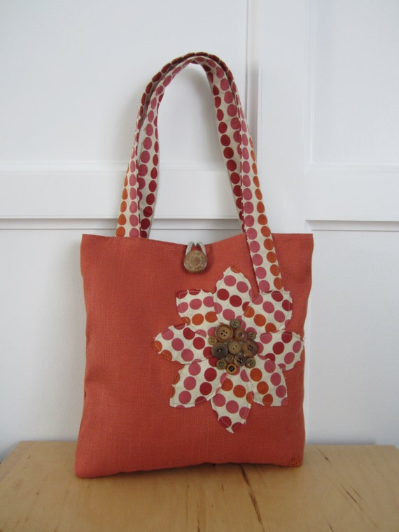 Woman's Orange tote purse with Polka Dots, Orange purse, Polka dot tote, Mother's day gift, Shopper, pink tote purse, Red tote bag purse,