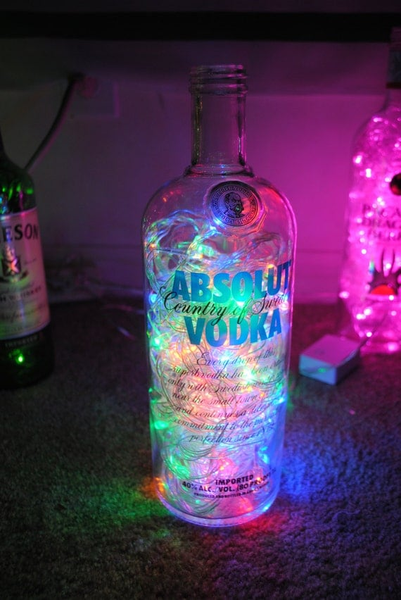 absolut vodka bottle with multicolored led lights by liqlights. Black Bedroom Furniture Sets. Home Design Ideas
