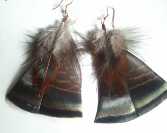 Americana Rooster and Rio Grande Turkey feather earrings