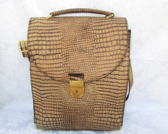 SALE  Vintage Textured Leather Messenger Bag Shoulder Bag Handbag