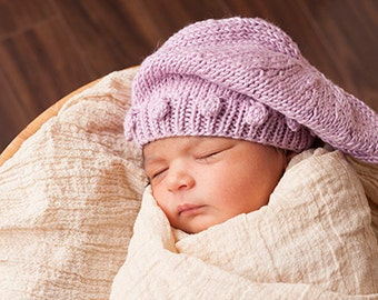 Soft Knit Tam in Bamboo for Newborn, Photography Prop