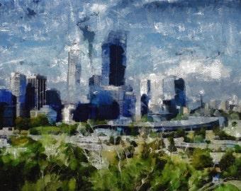Perth, Western Australia- (triptych panel 1) canvas print