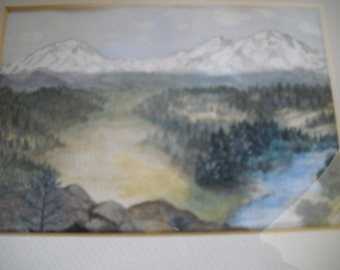 Watercolor of Mountain Landscape