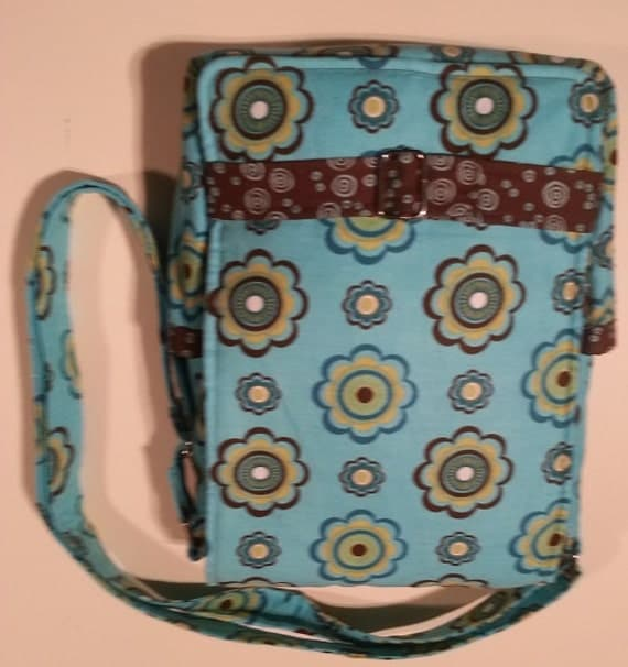 Handmade corduroy blue and brown purse for iPad, or similarly sized tablet