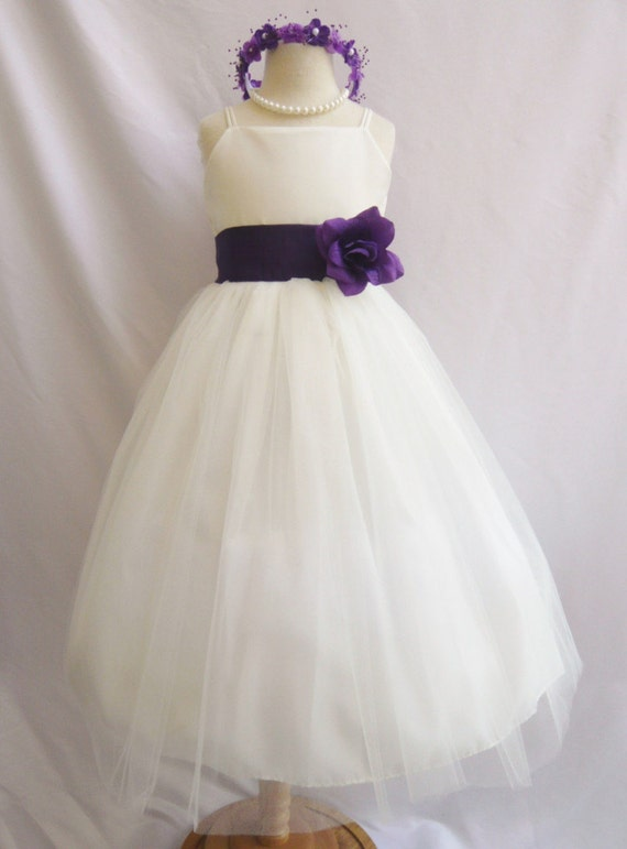 Flower girl dresses ivory with purple fd0rb2 by for Purple and ivory wedding dress
