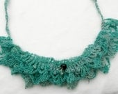 Crocheted necklace, turquoise bib nacklace whit glass beads