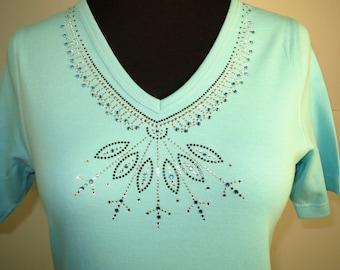 Blue Crystal Rhinestone Shirt