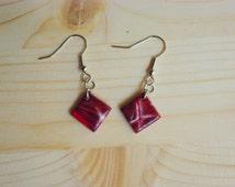 Red Purple & polymer clay earrings