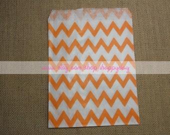 Orange Chevron Paper Party Favor Bags 25 Orange & White Gift Paper Bags Candy Buffet Party Favor Wedding Favor - 5 x 7 Medium Goodie Bags