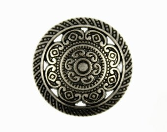 Metal Buttons - Metal Lacework Filigree Nickel Silver Metal Shank Buttons - 23mm - 7/8 inch - 6 pcs