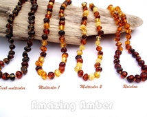 BEST OFFER. Genuine  Baltic Amber Teething Necklace.  Polished  Rounded  Beads.