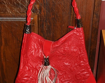 Squared by Sondra Roberts, Red and Large, Shopper's Bag, Handbag, Great Color Red, Authentic, Tassel, Nice Design, Zips Shut, Unique Bag