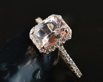 Elongated Cushion Cut Morganite Engagement Ring, 1.60ct Cushion Cut in Diamond Halo, Designed to Fit-Flush with Wedding Band, Madison