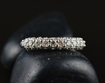 Victoria - Diamond Wedding Band in White Gold, Round Brilliant Cut, Pave Set on Three Sides, 1/2 Eternity Style, Classic, Free Shipping