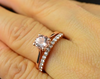 Emma Ruth & Petite Ashley Set - Morganite Engagement Ring in Rose Gold and Diamond Wedding Band in Rose Gold, Classic Style, Free Shipping