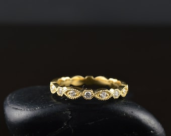 Marquise and Dot Diamond Eternity Band in 14k Yellow Gold with Milgrain, Bezel Set Diamonds, Milgrain, Full Eternity, 2.8mm Wide, Natalie