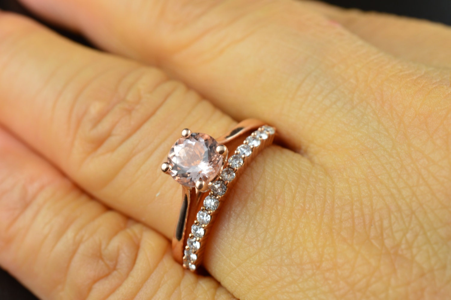 emma ruth & petite ashley set morganite engagement ring in