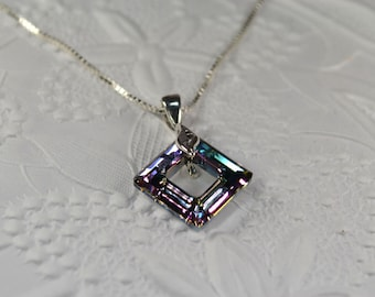 Swarovski square crystal ring pendant sterling silver chain necklace 16 inch