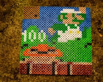 Super Mario BROS Luigi Nes Bead Sprite Scene