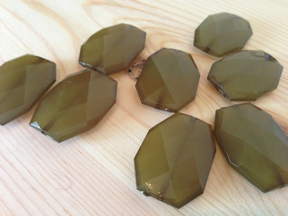 OLIVE Green- 34x24mm Large Translucent Faceted Acrylic Flat Nugget Beads- 10 pcs
